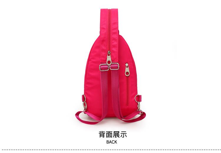 玫紅色牛津布包包背面展示