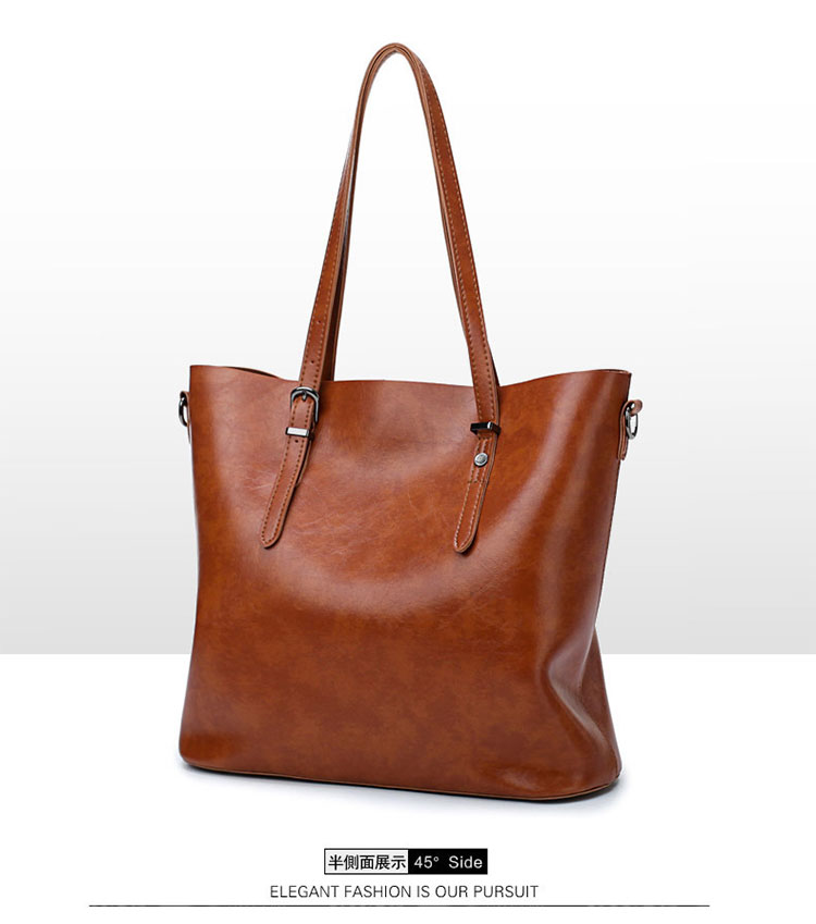 歐美風牛皮子母包手提包棕色手提袋