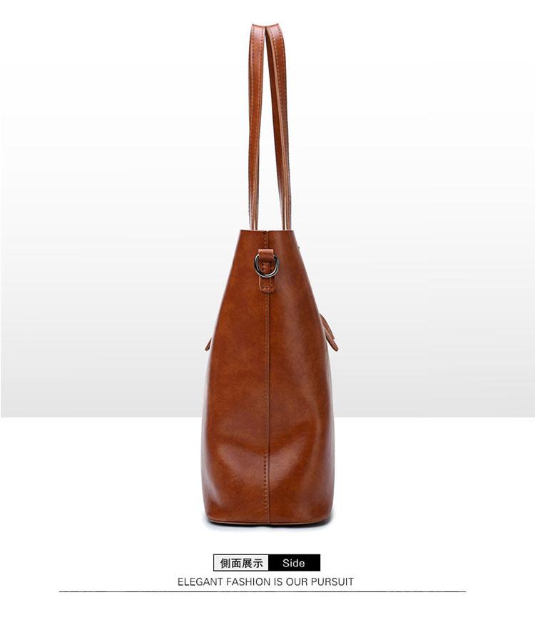 歐美風牛皮子母包手提包棕色手提袋側面