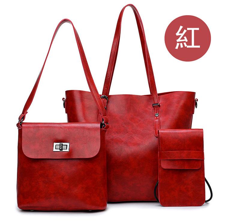 歐美風牛皮子母包手提包紅色