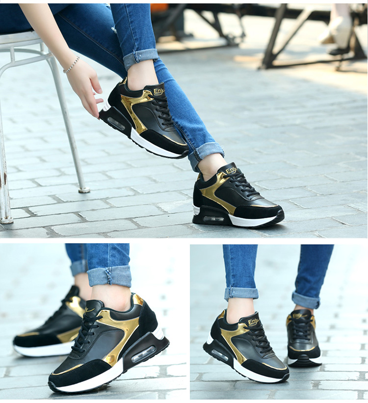 黑金真皮氣墊女鞋