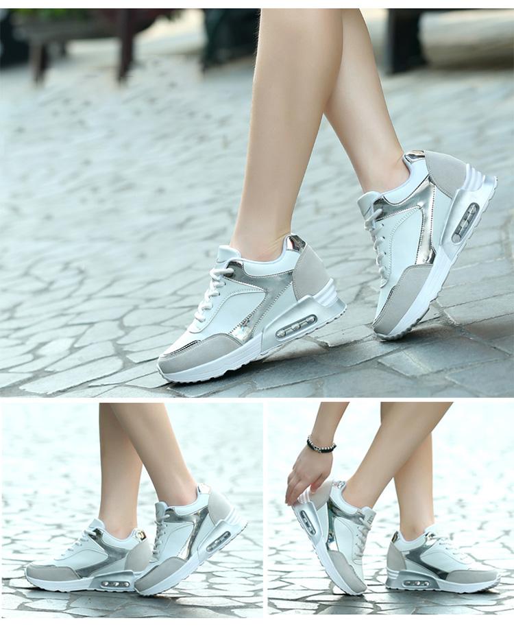 白色真皮氣墊女鞋