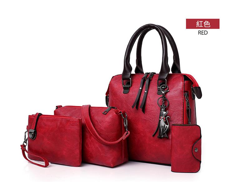 歐美復古單肩手提子母包顏色展示紅色
