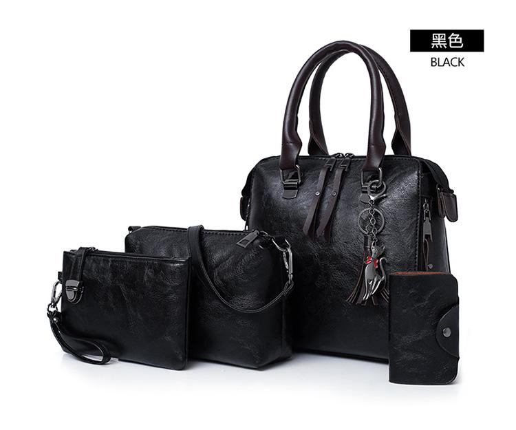 歐美復古單肩手提子母包顏色展示黑色