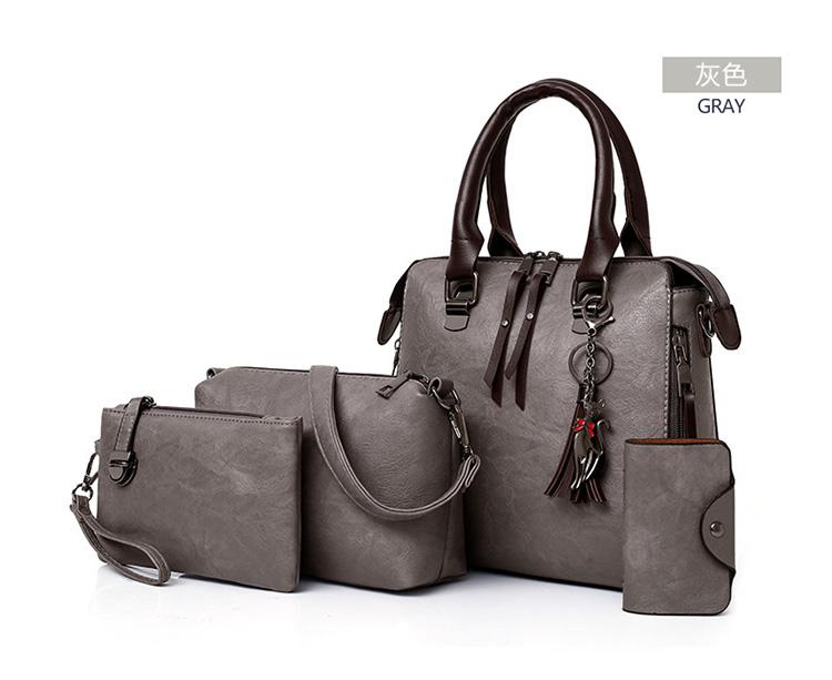 歐美復古單肩手提子母包顏色展示深灰色