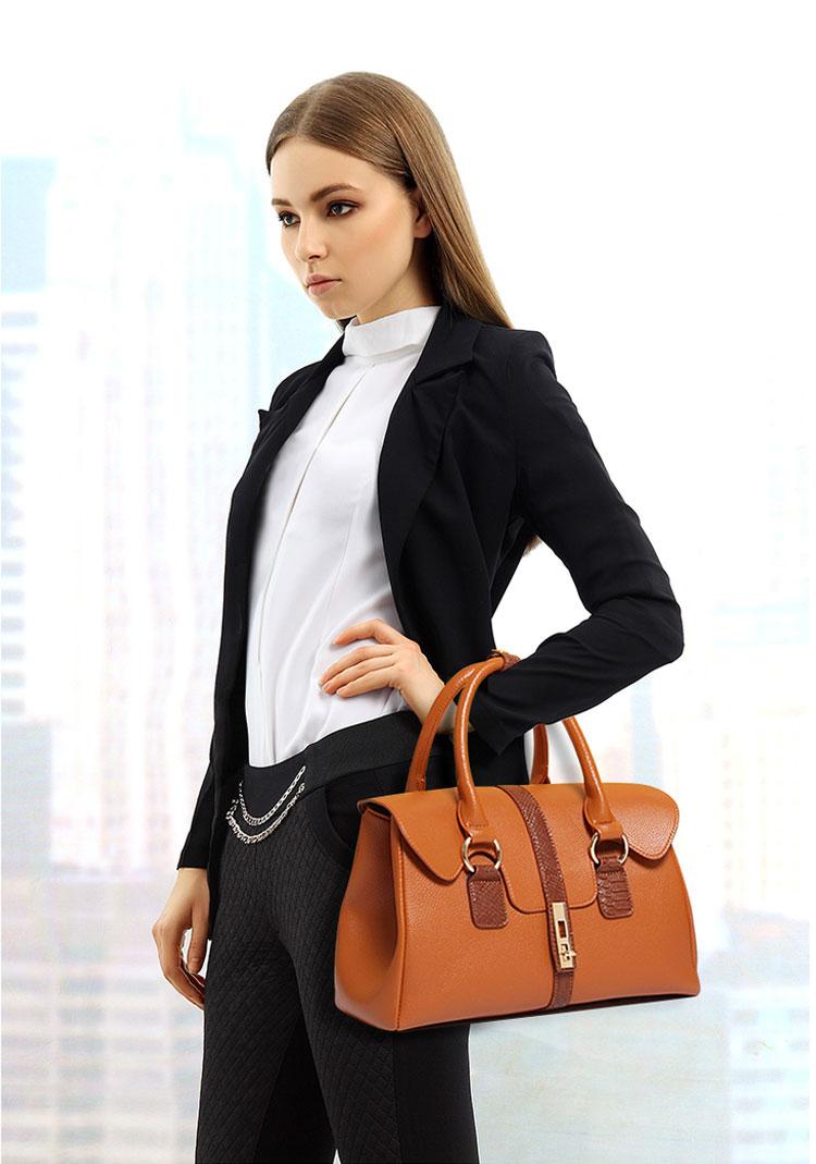 子母包六件組褐色手提包模特展示