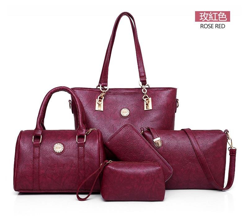 酒紅色子母包手提包