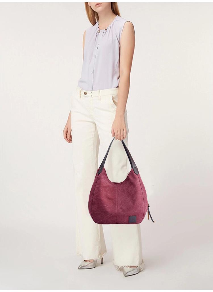 紫咖色帆布包模特手提展示