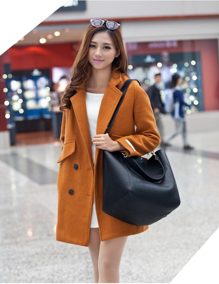 時尚真皮子母包單肩包模特展示黑色