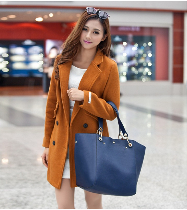 時尚真皮子母包單肩包模特展示藍色