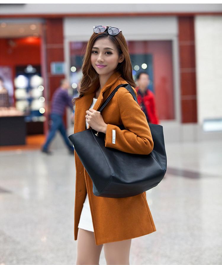 時尚真皮子母包模特展示黑色