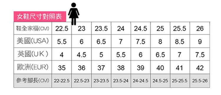 時尚休閒百搭女鞋尺碼信息