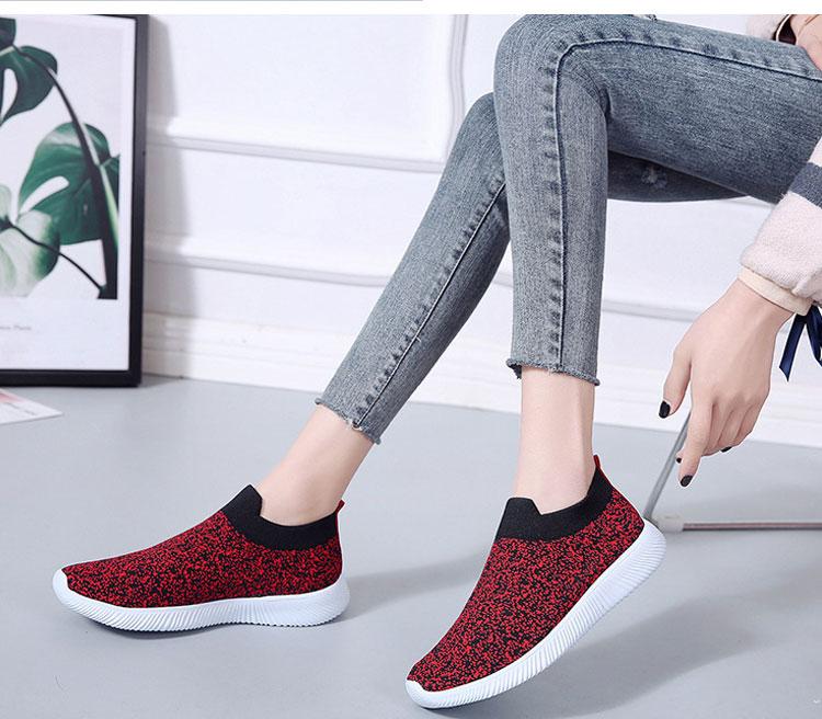 簡約時尚飛織運動鞋模特展示紅色