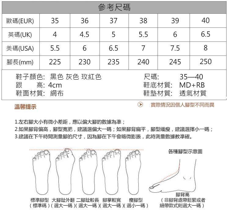 運動休閒鞋尺碼參數