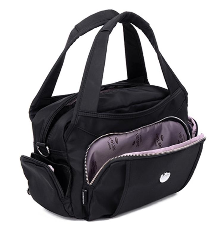 尼龍手提包單肩包黑色口袋展示
