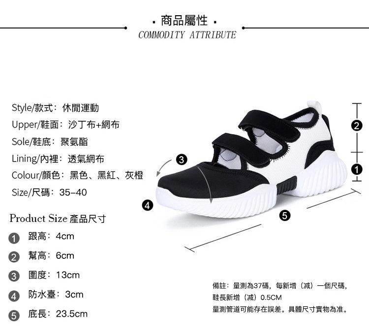 軟底潮流運動鞋涼鞋商品屬性