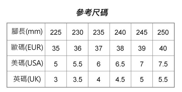 軟底潮流運動鞋涼鞋尺碼參數