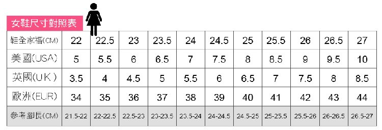 休閒氣墊鞋女鞋尺碼對照表