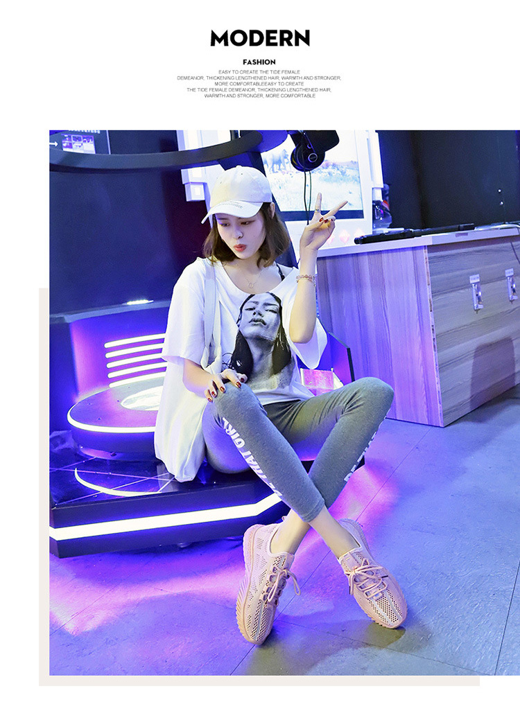 女生透氣韓版運動鞋模特展示粉色