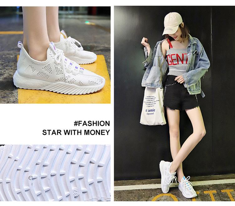女生透氣韓版運動鞋模特展示白色