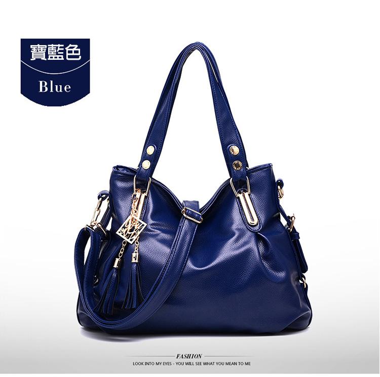 寶藍色牛皮手提包斜背包
