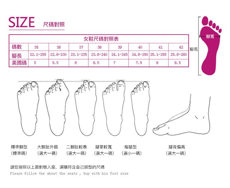 網面運動鞋休閒鞋尺碼對照表