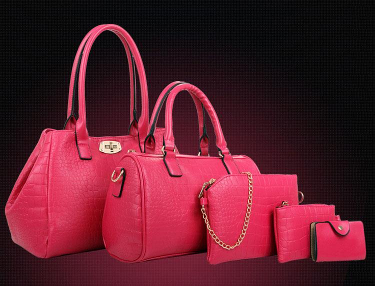 紅色鱷魚包包五件套