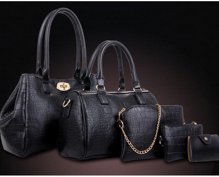 黑色鱷魚包包五件套