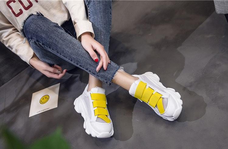 網面透氣運動鞋老爹鞋模特展示黃色