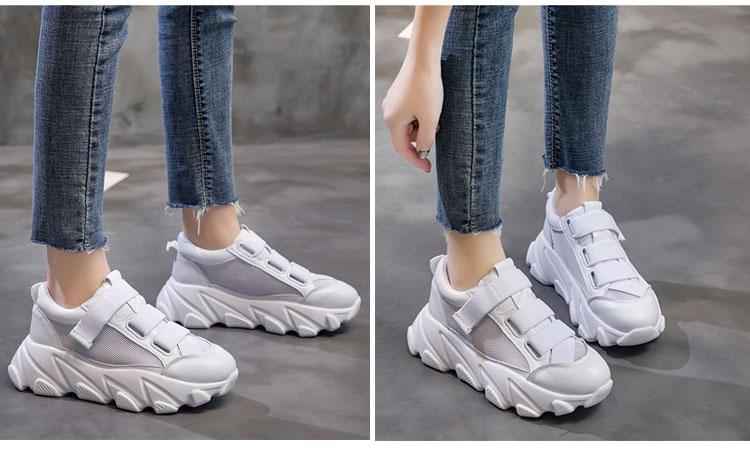 網面透氣運動鞋老爹鞋模特展示白色