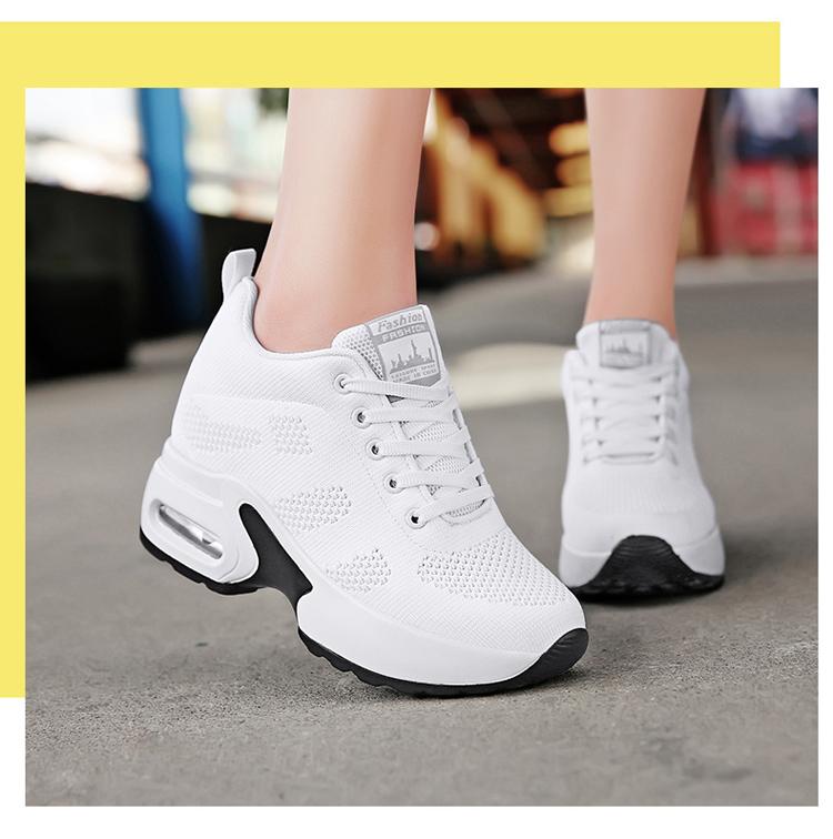 白色氣墊運動鞋女模特街拍