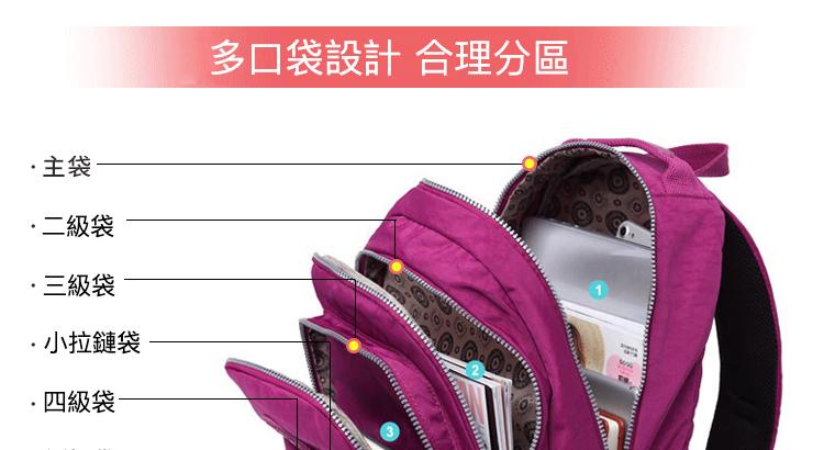 大容量運動休閒尼龍雙肩包多口袋設計