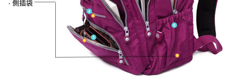 大容量運動休閒尼龍雙肩包側邊袋