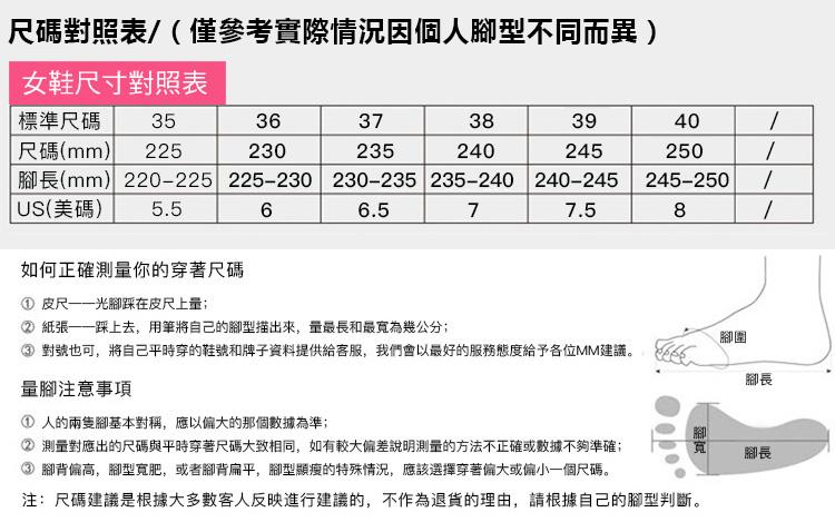 女鞋尺碼對照表