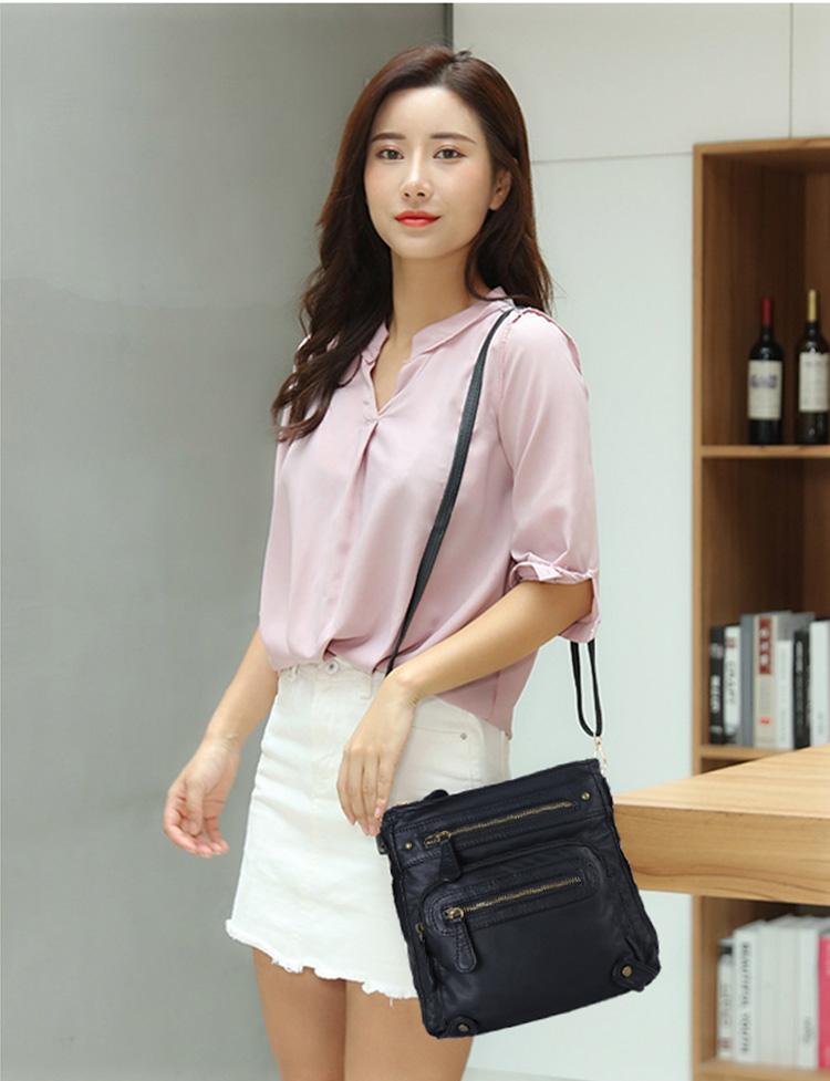 歐美風時尚小方包單肩包女模特展示黑色包包