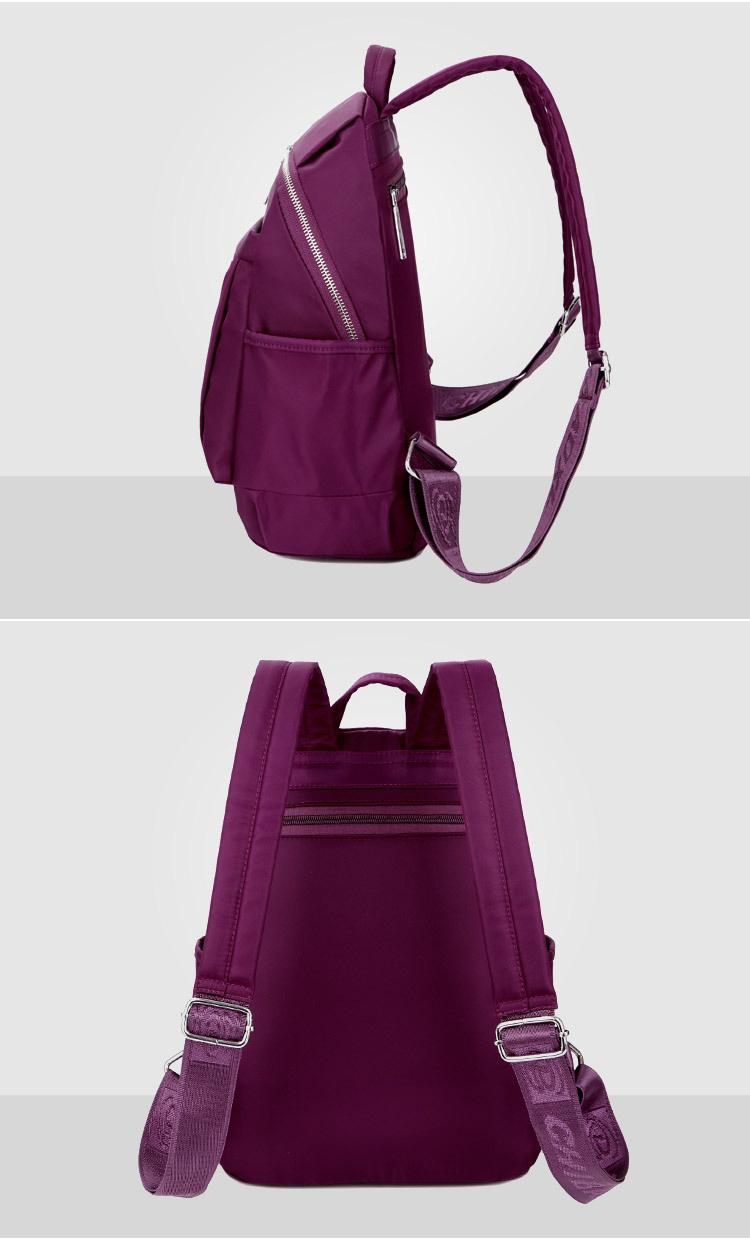 紫色雙肩包側面、背面實拍