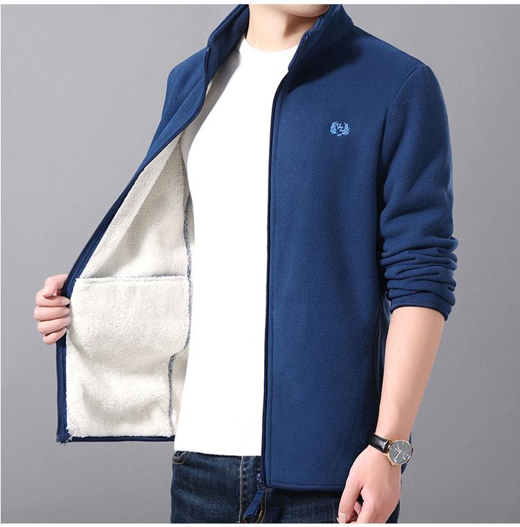 藍色加絨夾克外套