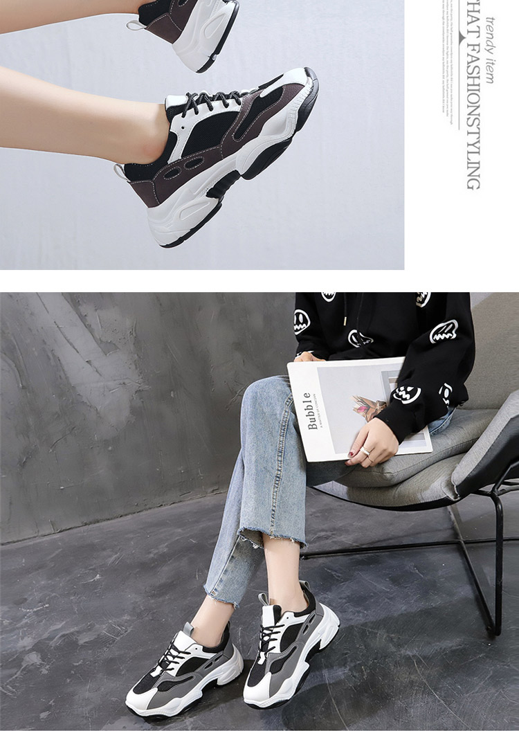 休閒運動鞋老爹鞋模特實拍黑色