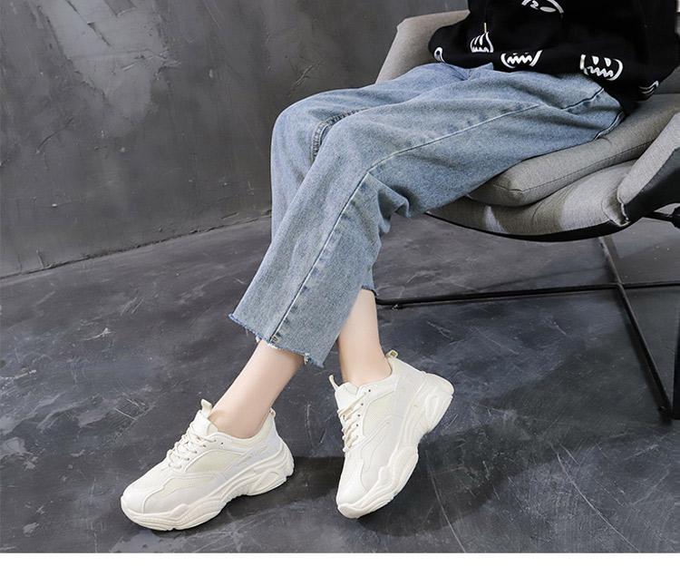 休閒運動鞋老爹鞋模特實拍米色