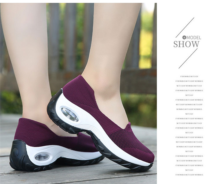 透氣彈力飛織鞋運動鞋紫色