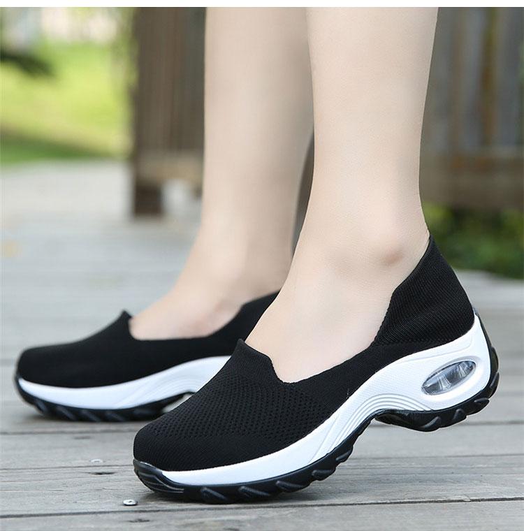 透氣彈力飛織鞋運動鞋黑色