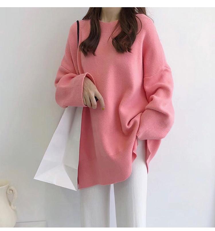 粉色針織毛衣模特展示