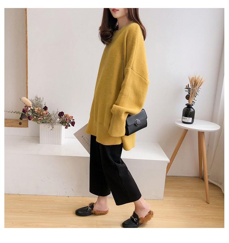 黃色針織衫模特展示