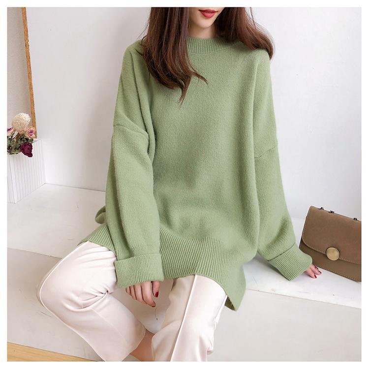 綠色針織衫模特展示