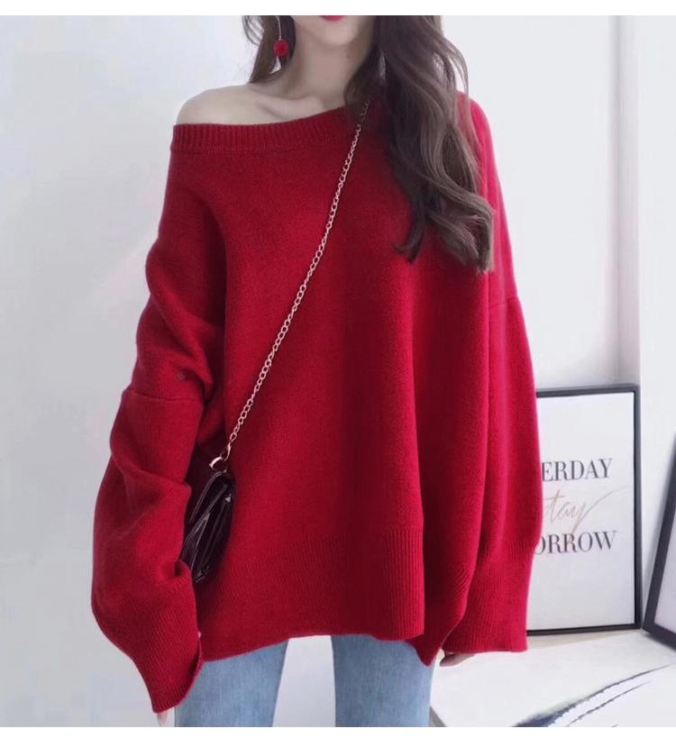 紅色針織毛衣模特展示