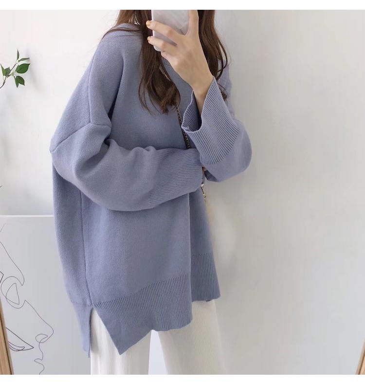 淺藍色針織毛衣模特展示