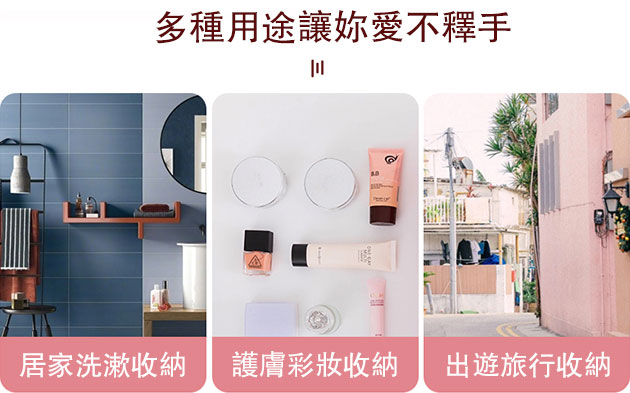 化妝品收納包多種使用場景展示